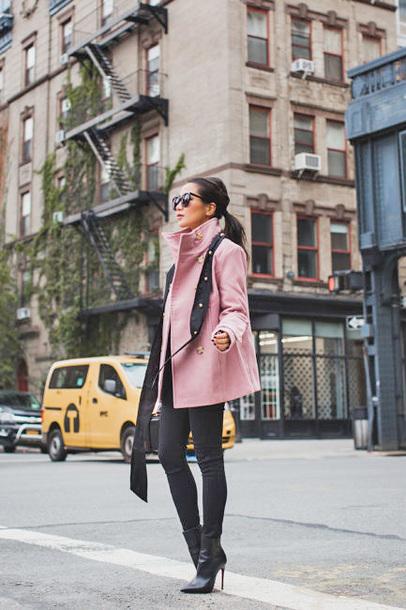 coat tumblr pink coat leggings black leggings boots black boots sunglasses