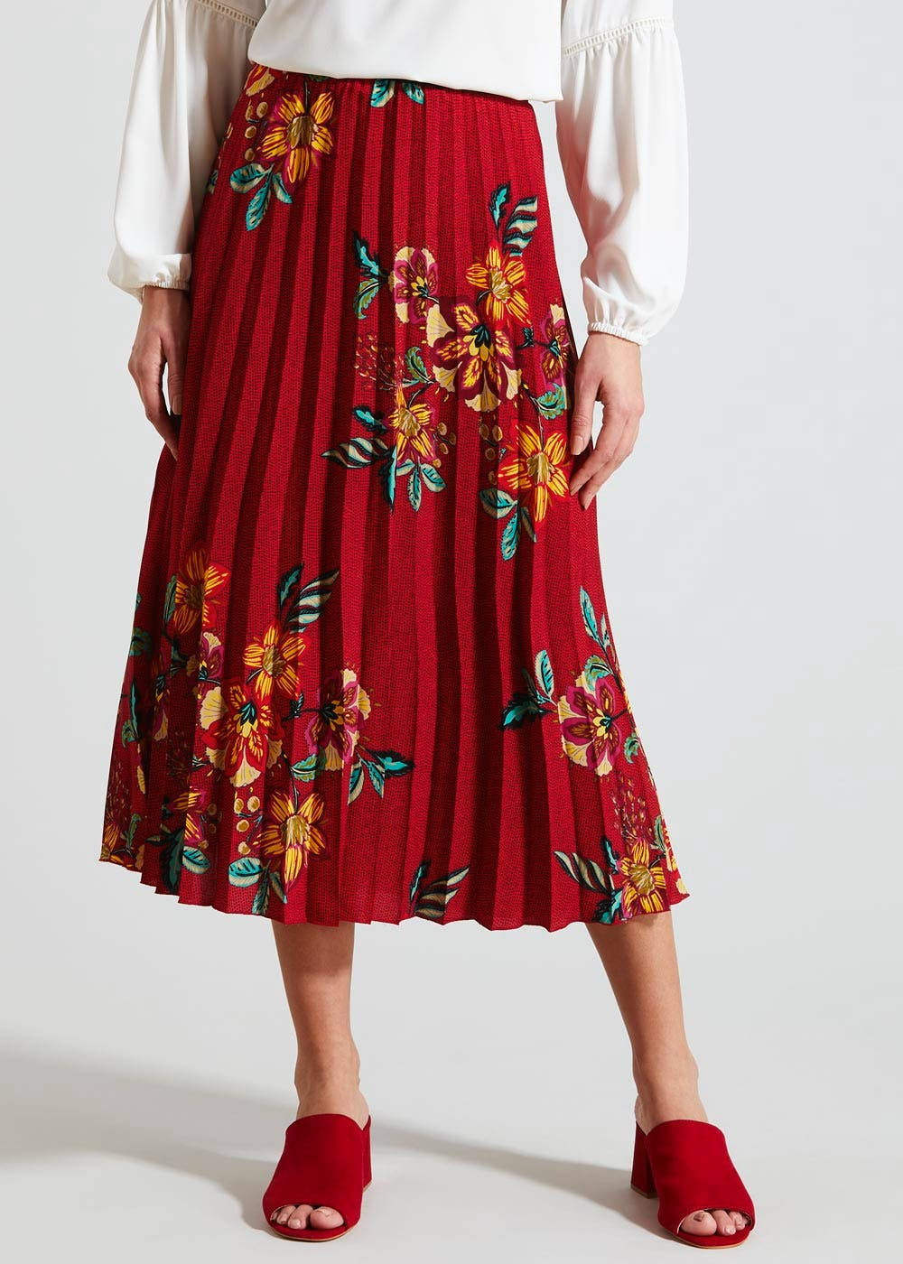 Floral Pleated Midi Skirt – Red