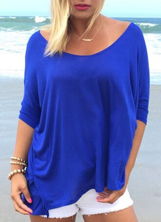 top t-shirt blue fashion style cute sexy party summer top clothes cool fashionista pretty trendy stylish beautiful shirt casual royal blue gorgeous summer outfits party dress light girly casual t-shirts scoop neck loose loose tshirt loose top