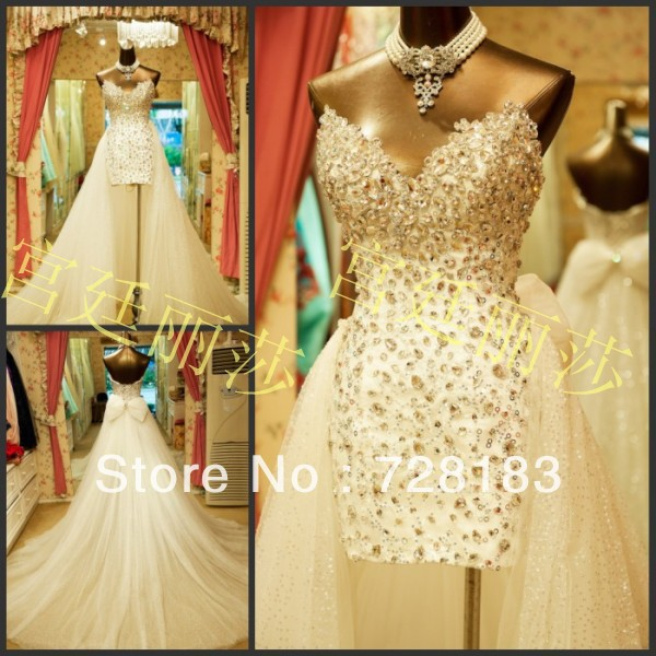 2014 Diamond Luxury Swarovski sequins detachable tail short prom dresses-in Wedding Dresses from Apparel & Accessories on Aliexpress.com