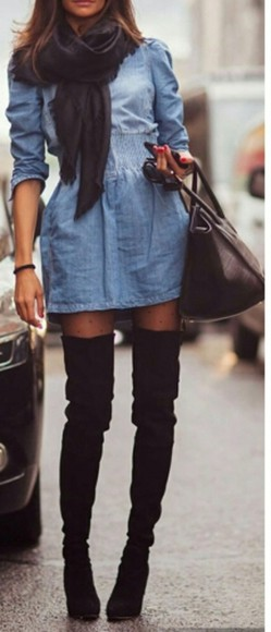 dress jeans jean dress short dress cute dress denim dress knee high boots