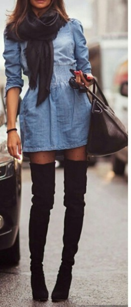 dress jeans jean dress short dress cute dress denim dress knee high boots thigh high boots shoes boots back thigh high suede boots