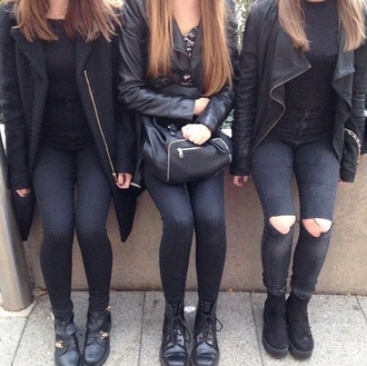 bag black jeans black jeans ripped jeans black shoes shoes coat black coat leather jacket black bag