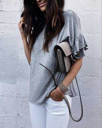top grey top tumblr bag grey bag denim jeans white jeans bracelets gold bracelet jewels
