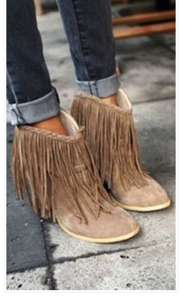 Shoes: tan fringe booties, ankle boots, fringes - Wheretoget