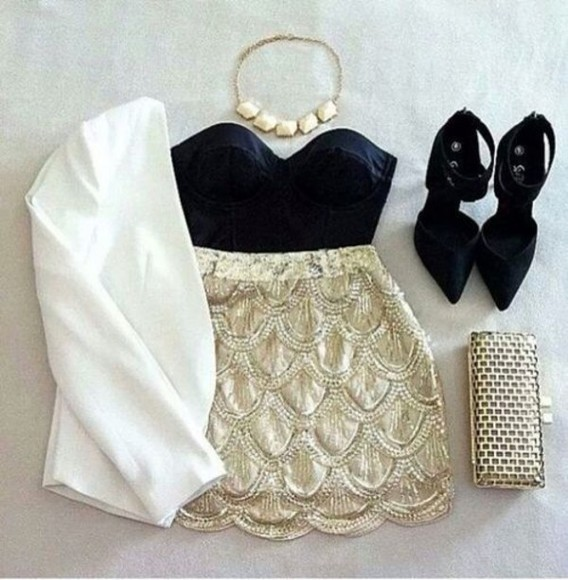ashley tisdale skirt outfits white skirt cool shirts fashion outfit sexy party dresses party party dress jacket blouse shoes tank top bag jewels skirt, crop top, shoes, black, white, dress
