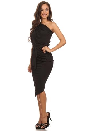 dress one shoulder draped uneven hem asymmetrical belt trendyish