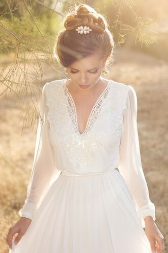 dress wedding wedding dress wedding gown beach long sleeves long sleeve dress ivory dress v neck dress hipster wedding