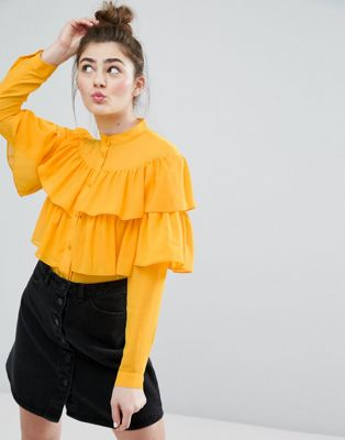 Monki Ruffle Tiered Shirt at asos.com