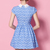 Blue Lapel Short Sleeve Floral Pleated Dress - Sheinside.com