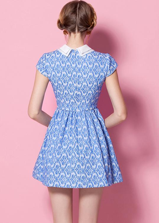 Blue Lapel Short Sleeve Floral Pleated Dress - Sheinside.com