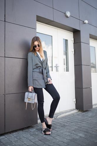 jacket tumblr blazer jeans denim black jeans shoes slide shoes bag grey bag sunglasses