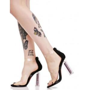 Women's Black Clear Open Toe Block Heel Sandals