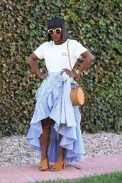 skirt,wrap skirt,ruffle hem skirt,mules,t-shirt,embroidered t-shirt,round bag,summer bag,basket bag,blogger,blogger style,slogan t-shirts