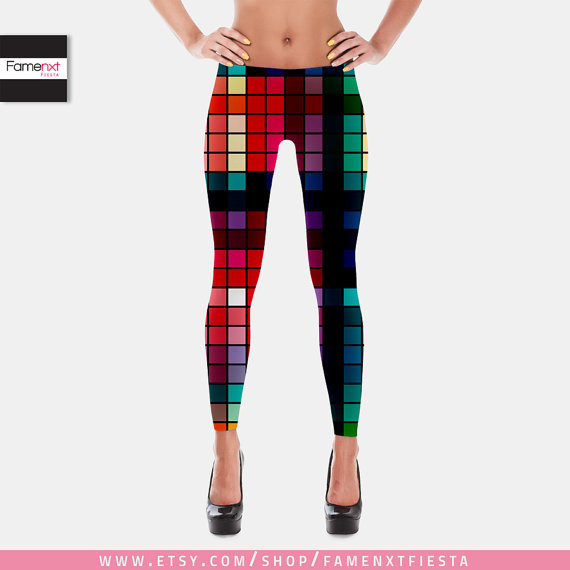 FREE SHIPPING Womens Leggings Tribal Printed Yoga Pattern Workout Multicolor