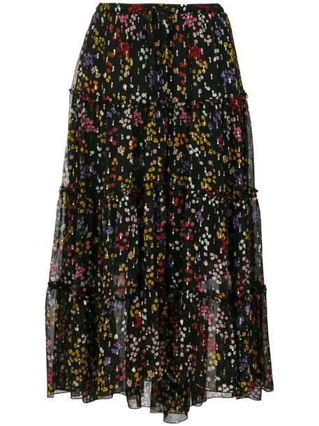 skirt midi skirt floral midi skirt metallic women midi floral black silk