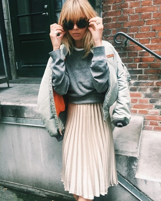 skirt silver jacket tumblr pleated skirt midi skirt grey sweater sweater jacket bomber jacket satin bomber sunglasses tortoise shell tortoise shell sunglasses cropped sweater back to school cute outfits outfit idea college