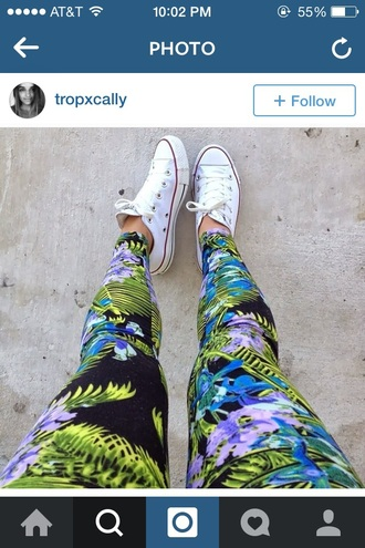pants tropical pants tropical palm tree print beach leggings