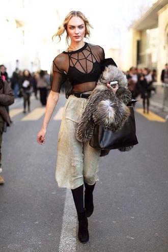 blouse hat pants underwear tank top black top crop tops transparent model bralette shirt candice swanepoel black top see through black boots wide-leg pants