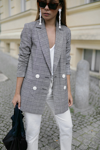 teetharejade blogger jacket top jeans shoes jewels bag sunglasses blazer white pants fall outfits