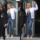 jacket,rihanna,overalls,shoes,heels,pants,shirt
