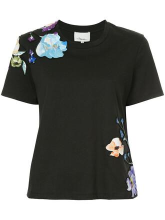 t-shirt shirt women floral cotton black top