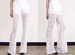 WHITE LACE PANTS 70s inspired boho crochet hippie flare Bell MEDIUM