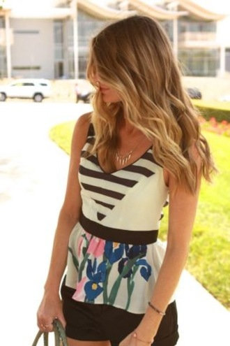 floral blouse peplum stripes horizontal stripes