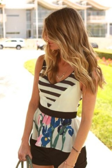 horizontal stripes blouse peplum stripes floral