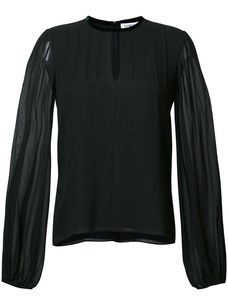 Elizabeth and James blouse sheer women black silk top