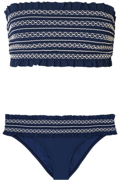 Tory Burch bikini bandeau bikini blue swimwear
