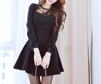dress asian asian model gown clothes little black dress long sleeves see through dress short dress flower lace ladies dress pretty woman elegant dress black dress classy dress