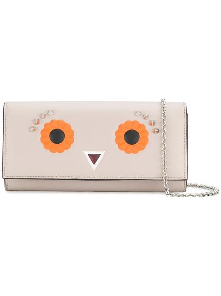 Fendi embroidered eyes women clutch leather grey bag