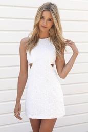 dress,white dress,cut-out dress,short dress,white floral short dress,white,sabo skirt,cut-out,similar,amazing,faint floral pattern,lace dress,white lace dress,flowers,cute dress,white graduation dress