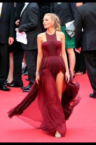dress blake lively red dark red long dress beautiful hot