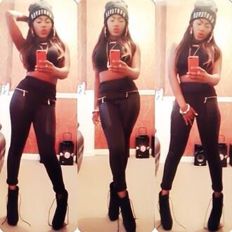 pants crop tops leather leggings beanie shoes hat
