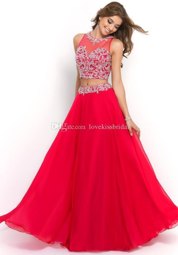 2015 Prom Dresses - Discount 2015 Two Piece Red Long Prom Dresses ...