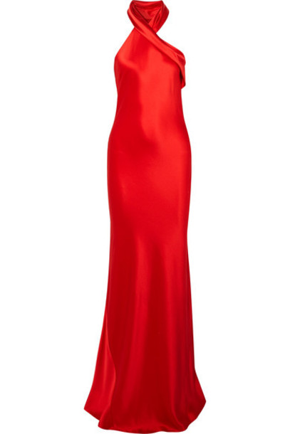 Galvan gown silk satin red dress