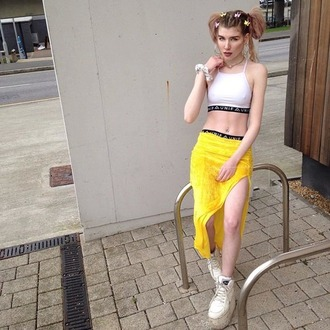 top white crop tops yellow skirt unif skirt shoes