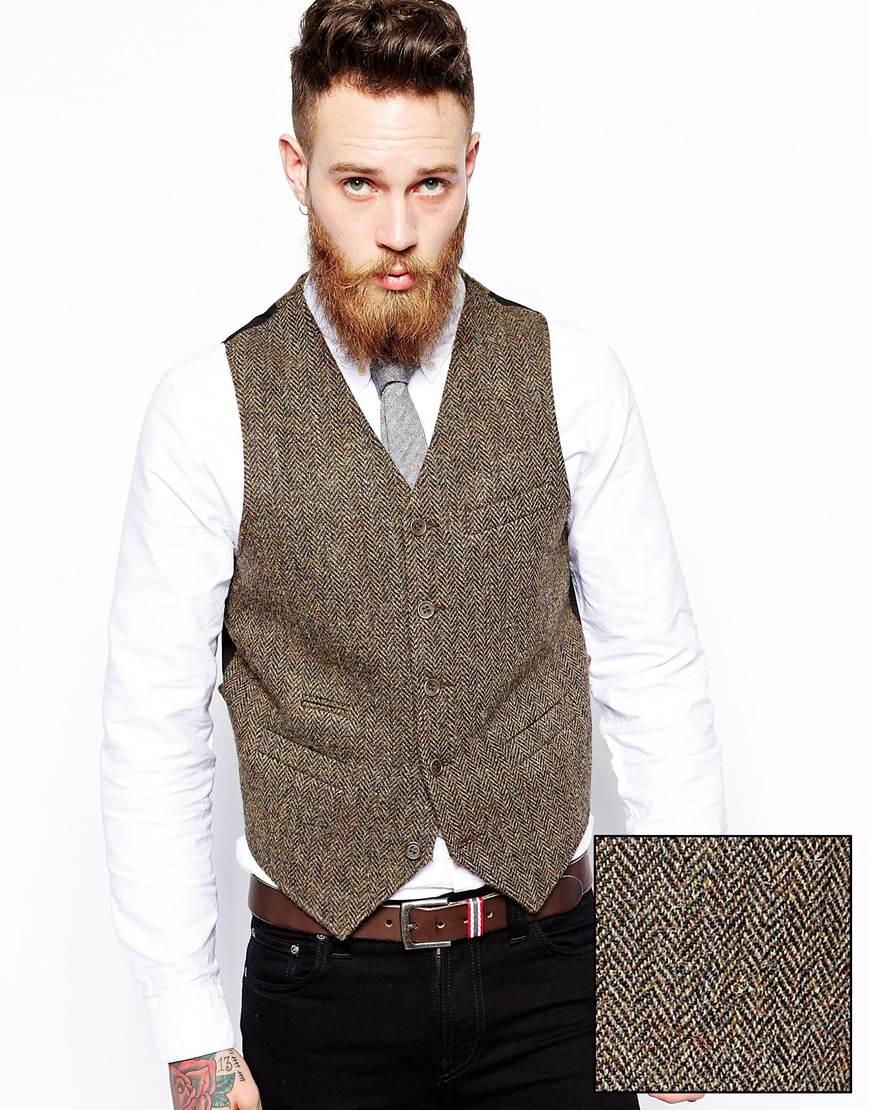 ASOS Slim Fit Waistcoat In Harris Tweed at asos.com