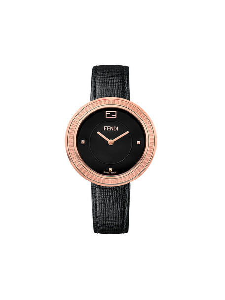 metal fur fox women watch leather black jewels