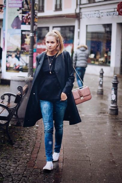en vogue coop blogger jeans bag casual grey coat