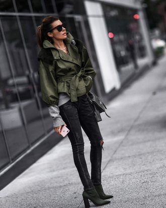 shoes bag fashionedchic blogger jacket sweater jeans army green jacket ankle boots black bag