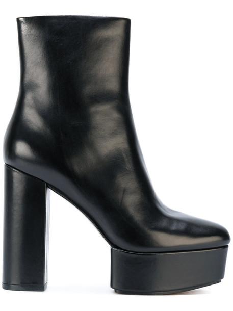 women platform boots leather black shoes
