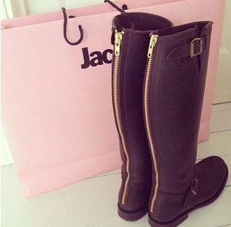 shoes black leather boots zip