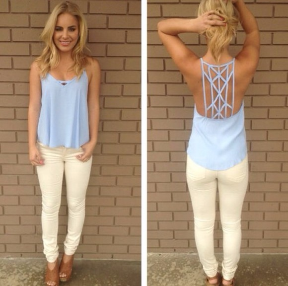 shirt blue shirt blouse tank top open back lavender pretty
