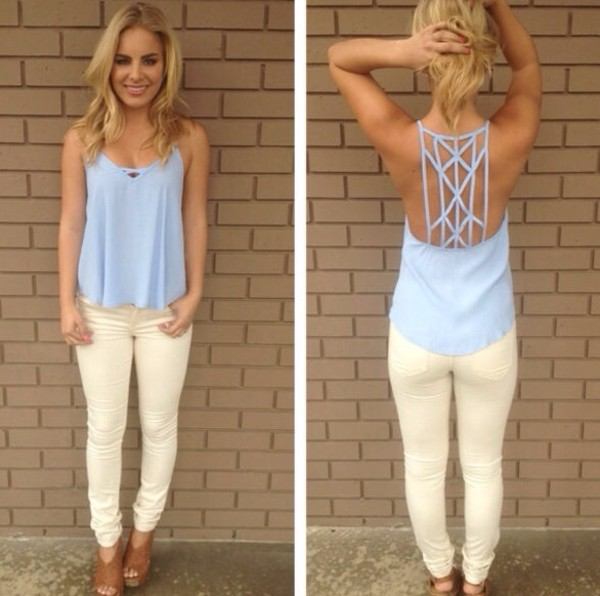 blouse tank top shirt open back blue shirt lavender pretty
