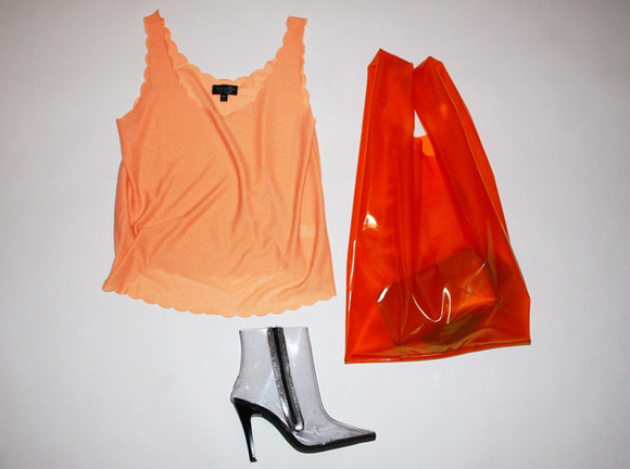 red bag orange red orange bag plastic bag Jil Sander See through bag