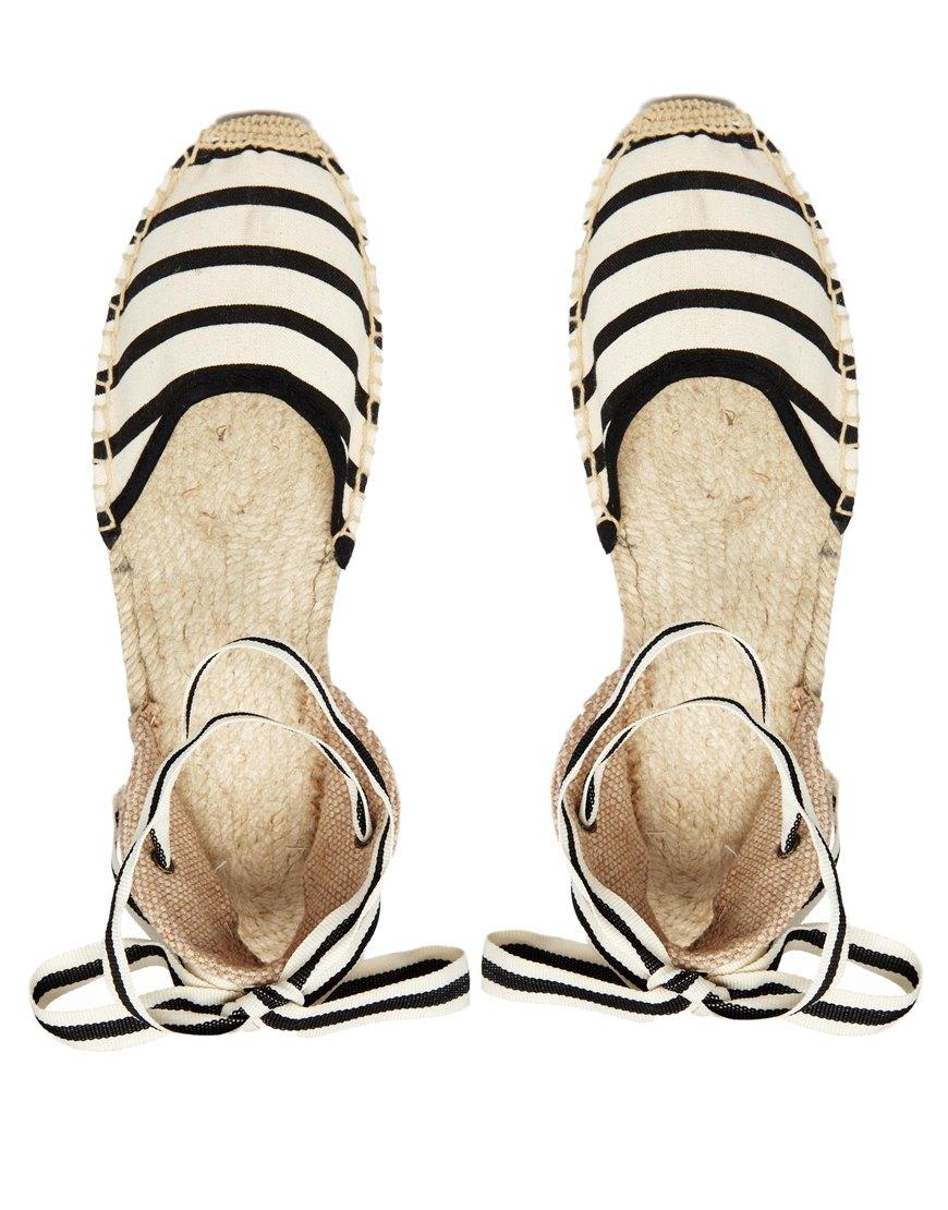 Soludos Classic Stripe Natural Flat Sandals at asos.com