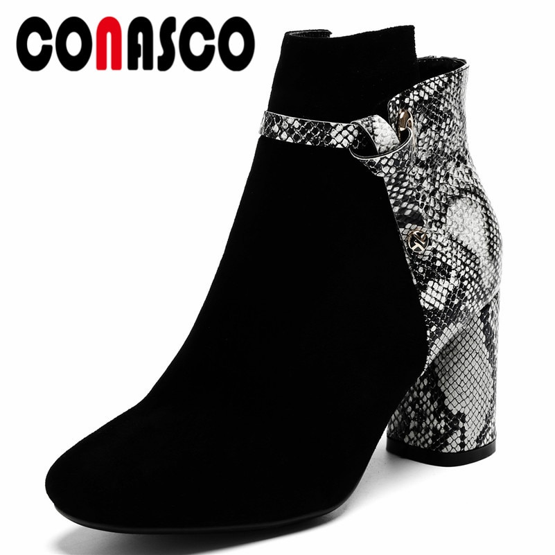 US $52.52 48% OFF|CONASCO Elegant Women High Heels Ankle Boots Suede Leather Zipper Patchwork Autumn Winter Martin Shoes Woman Ladies Short Boots -in Ankle Boots from Shoes on Aliexpress.com | Alibaba Group